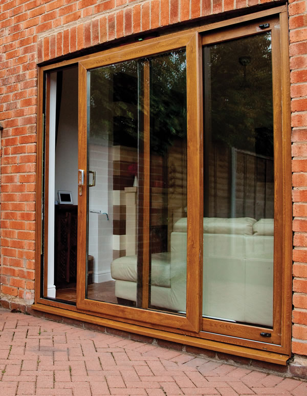 Upvc patio doors angled frames best free home design for Brown upvc patio doors