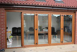 Golden Oak Bi-folding doors